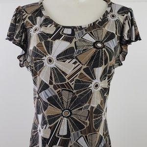 East 5th Top size Medium Black Floral Short Sleeve